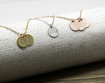 Same Day Shipping Til 3 p.m EST,silver/rose gold Coin Initial Necklace -Monogram necklace,Hand stamped,Custom necklace,Personalized necklace