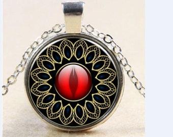 Victorian Gothic eyeball necklace pendant - evil eye cat dragon eye jewelry red glass cabochon eye jewelry dragon eye pendant