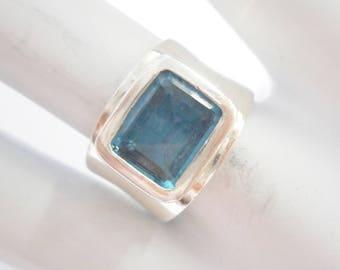 Blue Topaz Ring, Sterling Band Ring, Emerald Cut Topaz, Vintage Sterling Silver 3.4 Carat Emerald Cut Blue Topaz Ring Sz 7.5 #3029