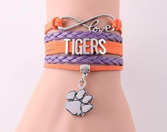 Clemson Tigers Love Friendship Charm Bracelet