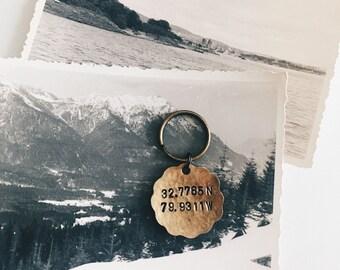 Custom Coordinates Keychain, Longitude Latitude Keychain, Coordinate Gift, Personalized Keychain, Tassel Keychain, Mens Keychain,  Custom