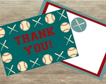 Vintage Baseball Thank You Card