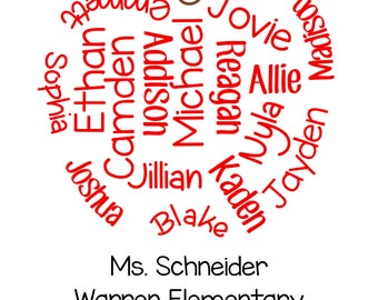 Custom Teacher Appreciation Gift, Apple, Names, DIGITAL DOWNLOAD