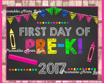 PRE-K 2017 Sign, First day of school sign printable, School Printable Sign, First day of PRE-K , PRE-K instant download