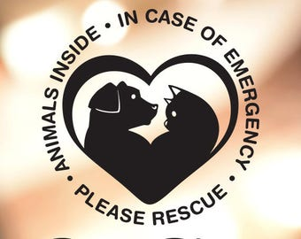 Animal Safety Decal. Animals Inside, In Case of Emergency, Please Rescue