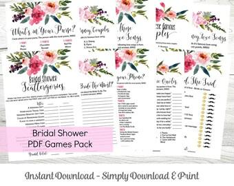 Bridal Shower Games MEGA Pack, Instant Downloadable Set of 10 Games, Floral Theme, WLP214