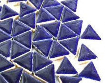 Triangle Ceramic Mosaic Tiles - Indigo - 50g