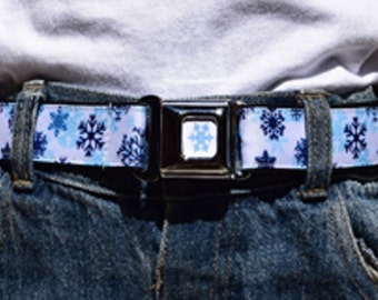 Kids Belt Press Belt Adjustable Belt in Girls Blue Snowflakes