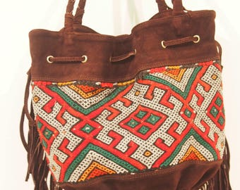 Brown suede tapestry bag