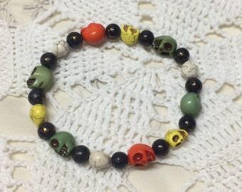 Men's skull bracelet, skull bracelet, turquoise skull bracelet, beaded skull bracelet, men's bracelet, skull jewelry