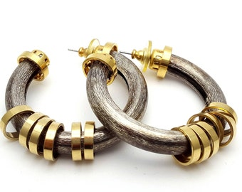 Silver and gold tone Metal Hoop Earrings Vintage Punk Rock from the 90s Steampunk Mechanical Industrialization Hard core Grunge Round bangle