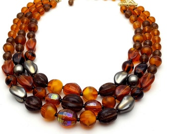 Triple Strand Amber Glass Beads West Germany Necklace Vintage from the 60s Retro Glass Beaded Statement piece Brown