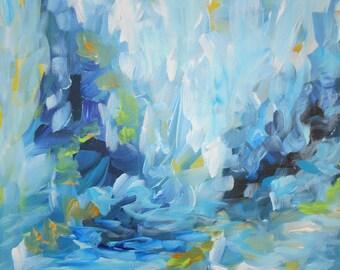 Small Blue Painting, Original Canvas Art, Abstract Painting, Modern Art, Acrylic on Canvas, Contemporary Art, Gift idea, Wall Art  Canvas