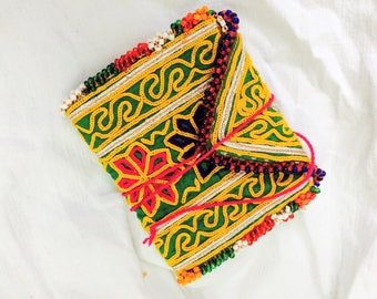 Vintage Kuchi Tribal Wallet. Beaded and Embroidered