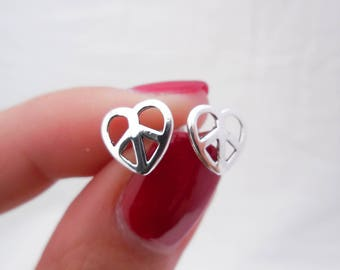 925 Sterling Silver Peace and Love Stud Earrings, Heart Earrings, Peace Sign Earrings, Heart and Peace Hearings, Peace and Love Jewelry