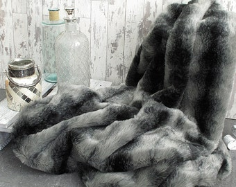 Black Wolf Faux Fur Throw for Bed or Sofa with grey faux-suede lining in a range of sizes