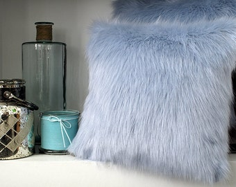 Baby Blue faux fur cushion covers, cushions, pillow covers in choice of 2 sizes. Matching throws available.