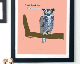 Great Horned Owl Print - Song Bird Printable Wall Art -  digital product - instant download