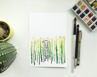Original Dog painting, dog art, dog picture, dog watercolour, dog illustration, dog drawing, dog original, dog artist, rapeseed field,