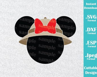 INSTANT DOWNLOAD SVG Disney Animal Kingdom Inspired Minnie Mouse Ears for Cutting Machines Svg, Esp, Dxf and Jpeg Format Cricut Silhouette