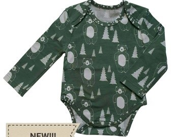 SALE Long Sleeve Organic Cotton Bodysuit With Bear Print from 20.00EUR NOW 14.00EUR