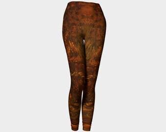 Phoenix Leggings, printed leggings, art leggings, workout leggings, abstract leggings, modern print leggings, brown leggings