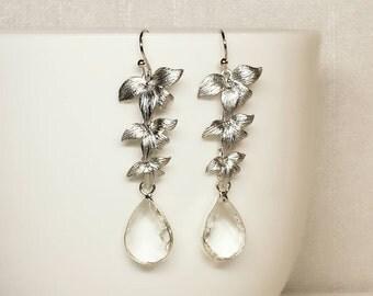 Silver Orchid Flower Clear Crystal Earrings, Silver Wedding, Bridal Earrings, Bridesmaid Gift, Silver Orchid Flower Earrings, Gift for Her