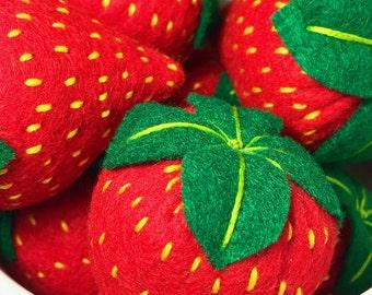 BOUNCY BERRIES • Organic Catnip or Valerian Root Strawberries • Felt Cat Toy • Vegan Cat Gift