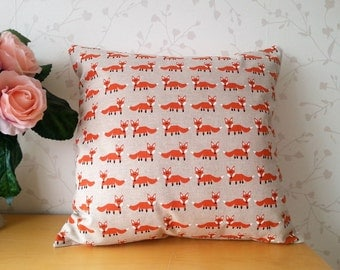Cushion with pad, Cushion cover, Cushion, Animal print cushion.  Fox, Nature design,  Cream, Rustic colours