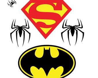Batman SVG, Superman SVG, Spiderman SVG, Eps, Dxf, Png, Jpg