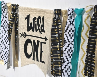 WILD ONE highchair Banner, tribal birthday banner, where the wild things are birthday, wild one birthday banner, first birthday highchair