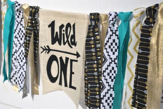 WILD ONE BIRTHDAY, tribal birthday banner, first birthday highchair banner