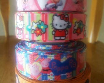 25 YARDS!!!, minnie mouse rinn in, peppa pig ribbon, hello kitty ribbin, snow white ribbon, princess ribbon, pink ribbon, grosgrain ribbon