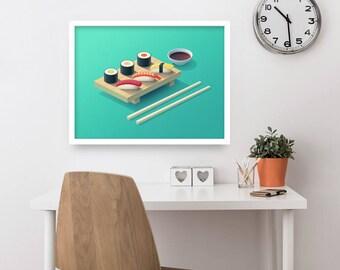 Sushi Set Isometric Poster Art Print