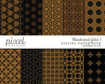 Black Gold Shimmer Accent Digital Scrapbook Paper Pack [Pack 1] Instant Download