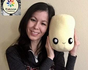 Kawaii Lemon Yellow Marshmallow Plush Toy - Kawaii food toy - Anime food toy - Anime food plush - Yellow Fleece Marshmallow Toy Plush