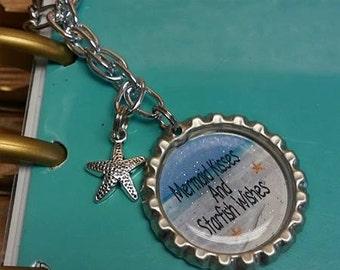 Mermaid Kisses & Starfish Wishes Bottle Cap Planner Charm Keychain Erin Kate Happy Life
