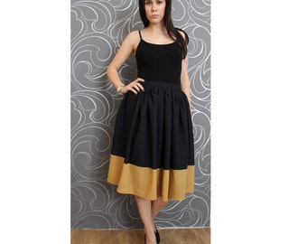 high waist viscosa, rayon skirt, navy blue and ocher yellow, knee length, elegant skirt