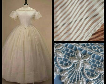 Custom Made Victorian Satin Stripe Organza Wedding Dress Ball Gown