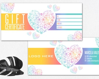 Gift Certificate Cash Hearts, Printable Business Supplies Pop Up Shop Cards Approved Colors and fonts