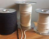 "200 ft. 61 m Macramé Cord White Black 3 Strand Rope 1/8"" 3/16"" 1/4"" 3 mm 5 mm 6 mm DIY Macrame Supplies Tools 100% Cotton Natural"