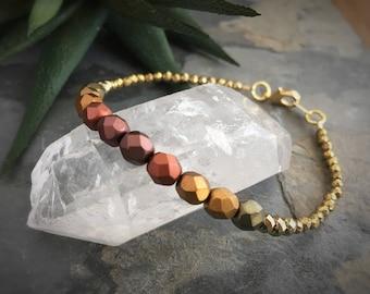 Ombre Pyrite Reiki Infused Bracelet