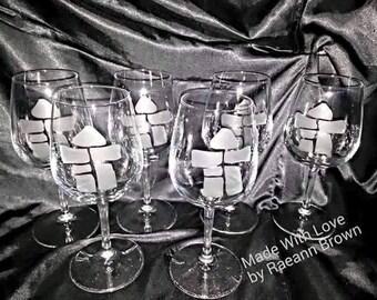 Inukshuk etched wineglasses