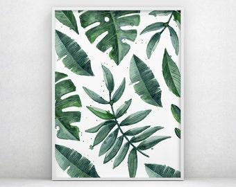 Tropical Printable Art, Tropical Leaf Print, Plant Prints, Modern Art, Tropical Decor, Plant Leaf Print, Leaf Printable, Leaf Photo, Leaves