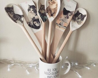 Kitten Set of Wooden Spoons& Spatulas x6