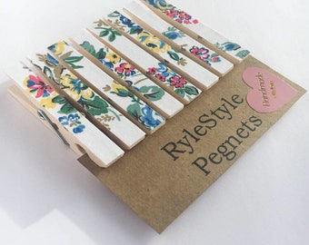 Wooden Clothes Peg Fridge Magnets - Cath Kidston Highgate Rose