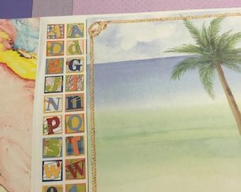 Lot of 31 miscellaneous purple, tie dye, alphabet, vacation scrapbook paper