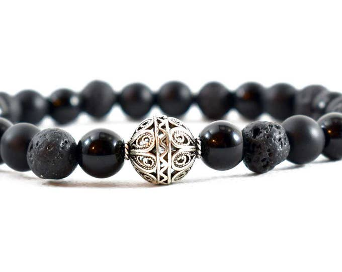 Unisex Bracelet with Sterling Silver, Mate Black Onyx, Lava & Black Obsidian beads.