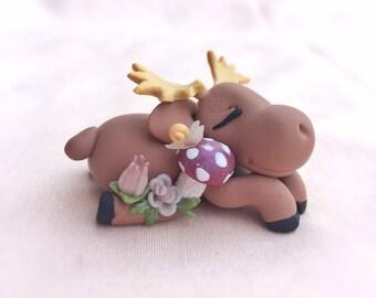 Sleepy Succulent Moose - Polymer Clay Figurine - Handmade Gift **Clearance Sale Pricing**