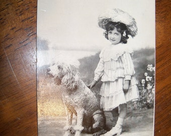 Rare 1906 Poodle and Little Girl postcard. Free US Shipping